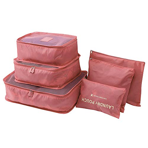 Hot Sale!DEESEE(TM)6pcs Travel Set Clothes Laundry Secret Storage Bag Packing Luggage Organizer Bag (Watermelon Red)