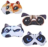 4 Pack Funny Eye Sleep Mask Soft Blindfold Eye Cover Eyeshade with Adjustable Strap for Women Men Girls Boys