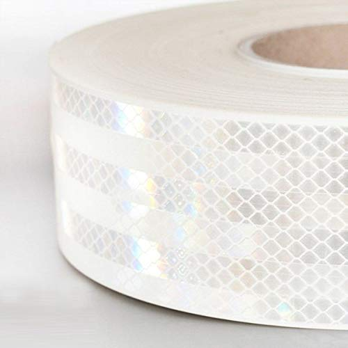 StickersLAb - Pellicola adesiva omologata retroriflettente 3M Diamond Grade 983 per la bordatura dei veicoli Rosso Bianco o Giallo al metro (1 Metro, Bianco)