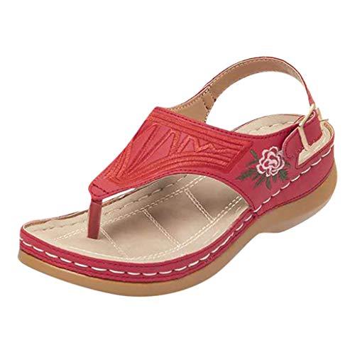 Fenverk Damen Wandern Sandalen, Frauen Outdoor Sport Wasser Schuhe Sommer Flach Cross-Tied Beach Wanderschuhe Open Toe Verstellbare Leichte Walking Wandersandalen(A rot,39 EU)