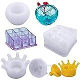 AIFUDA - 3 moldes de resina de silicona, caja de almacenamiento de silicona con 9 ranuras, caja de almacenamiento de joyería de corona y molde de taza grande para hacer manualidades y caja de resina