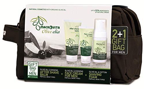 Macrovita Coffret cadeau Olivelia pour homme Baume après-rasage 100 ml + Crème visage hydratante 50 ml Offert : mousse à barbe 100 ml + pochette