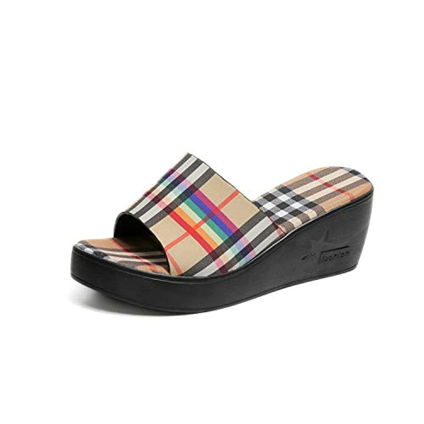悲観的看板破壊的なサンダル レディース サンダル 歩きやすい 旅行 女の子 サンダル 夏/チェックのスリッパ/カジュアル/ファッション/一字/怠け者のスリッパ/ファッション/女性の靴 (37サイズ、23.5cm)