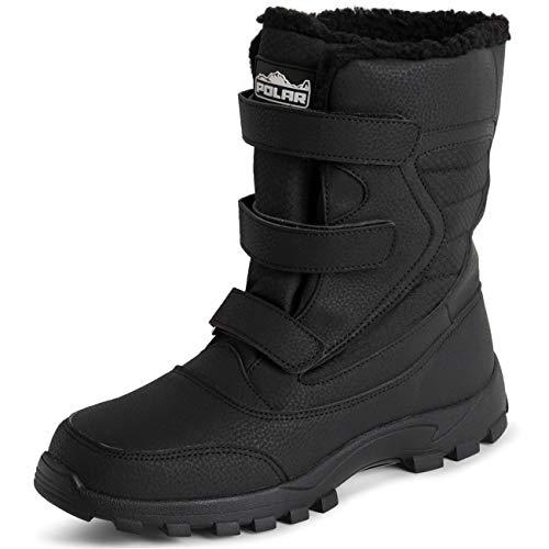 POLAR Mens Memory Foam Triple Strap Thermal Winter Rubber Sole Durable Waterproof Winter Snow Rain Boots - Black - EU43/US10 - YC0700