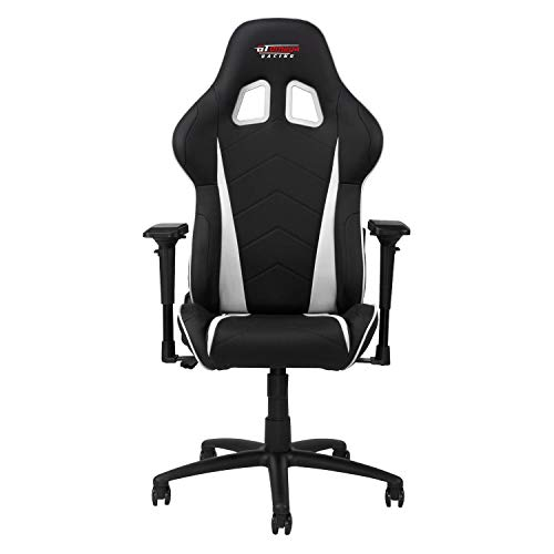 GT OMEGA PRO Racing Gaming Chair with Ergonomic Lumbar Support - PVC Leather Reclining High Back Home Office Chair with Swivel - PC Gaming Desk Chair for Ultimate Racing Experience - Black Next White