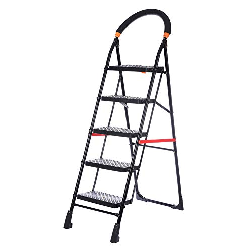 NHR Premium heavy steel 5 Step Foldable Ladder, Ladder, stairs, step stool, Anti Skid ladder for home and Office Use Safety Clutch Lock