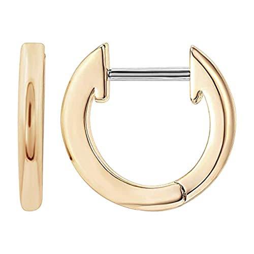 Accesorio, 1 par de Pendientes de aro pequeños chapados en Oro de 14 Quilates con Brazalete Huggie para Mujer, Ropa, Zapatos y Accesorios (tamaño Libre de Oro)