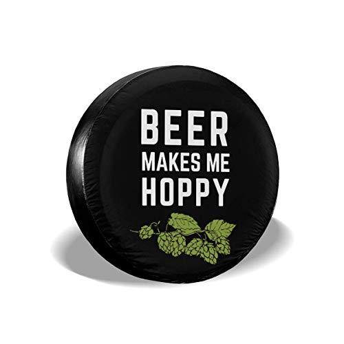 WCHAO Beer Makes Me Hoppy Cubierta de neumático de Rueda de Repuesto Ajuste Universal