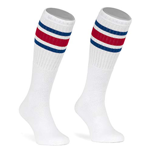 skatersocks 22 Inch kniehohe gestreifte Damen Socken Kniestrümpfe knee high overknee Herren Retro Tube Socks weiss - royal blau/rot gestreift - UNISEX - OSFA