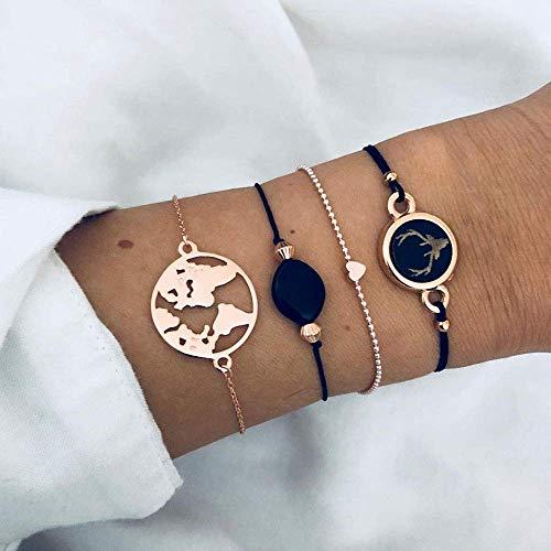 BIJOUX Pulsera de piedra, pulsera colgante negra 5 piezas Juego de mapa de océano bohemio Corazón Tortuga Pulseras con dijes para mujeres Conjuntos de joyas Regalos personalizados Accesorios de ropa