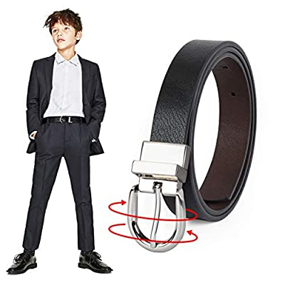 JASGOOD Kids Leather Reversible Belt, Boys Casual Belt for Jeans School Uniform with Rotated Buckle (Black/Coffee,Pant Size 18-22 Inch)