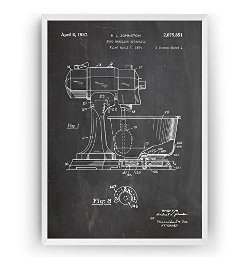 Kitchen Mixer Patent Poster - Baking Vintage Wall Old Blueprint Gift Art Print Cutlery Restaurant - Frame Not Included