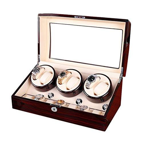 QLL003 QLL Uhrenbeweger Uhrenbox (6+7), AC-Adapter,Flüsterleise,mit 5 Drehmodi für 13 Armbanduhren (Farbe : Brown White, größe : 48x26x22cm)