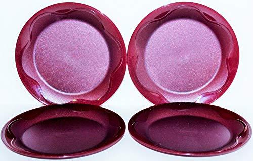 Tupperware Set of 4 Plates 8' Open House Floresta Sparkle Merlot Burgundy
