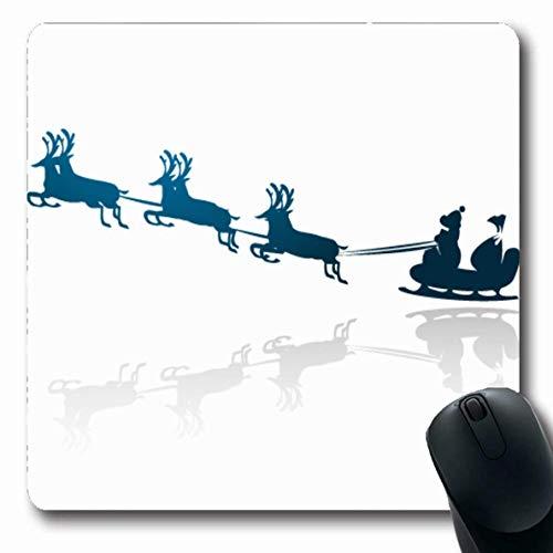Jamron Mousepad OblongElk Reflexion Nacht Rote Weihnachten Schlitten Silhouette Feiertage Elfenfeiertag Weihnachten Tierbogen Claus St Rutschfeste Gummimaus Pad Büro Computer Laptop Spiele Mat.-Nr.