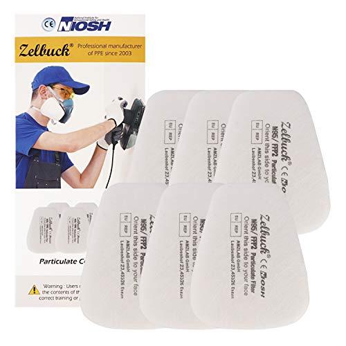 Zelbuck Filter für Atemschutzmaske Partikelfilter für Staubmaske Lackiermaske Atemschutz Halbmaske und Gasmaske Ersatzfilter Austauschfilter Einlegefilter für Voll- und Halbmasken - 6 Stuck (3 Paare)