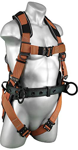 Malta Dynamics Warthog Comfort MAXX Construction Safety Harness with Removable Belt, Side D-Rings and Extra Padding – OSHA/ANSI/CSA Compliant, Full Body Harness for Fall Protection, Orange (SM-LG)