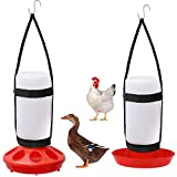 2 Packs Chick Feeder and Waterer Kit Hanging Harness with Plastic Bottle and Waterer Base for Poultry Farm Chick Water Food Feeder