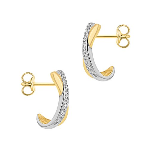 Carissima Gold 9ct Yellow Gold Diamond Pave Set Kiss Stud Earrings