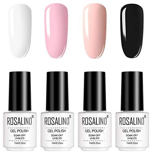 ROSALIND UV Gel Nagellack 4pcs Permanent Nagellack Set Rosa Soak Off UV LED Glitter Nagellack Kit 7ml Gel Polish