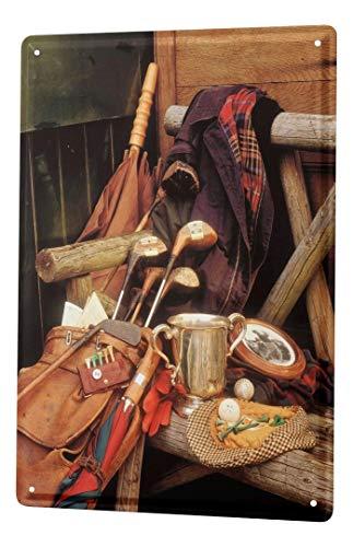 LEotiE SINCE 2004 Blechschild Sport Golfbag Golfschläger Retro Deko Wand Schild 20x30 cm Vintage Retro Wanddekoration
