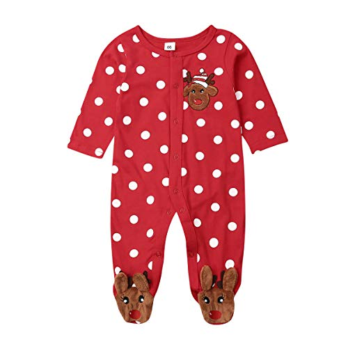 Kuriozud Newborn Baby Girl Boy Footed Sleeper Reindeer One Piece Romper Jumpsuit Clothes (Christmas Footed Romper, 0-3 Months)