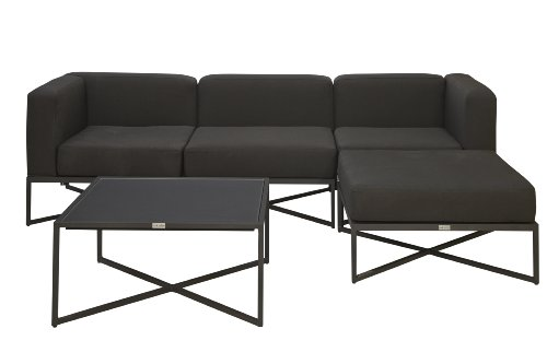 Akula 407OB3 Loft Modular Deep Seating 3-Seater Suite in Black Olefin