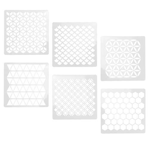 Exceart - 6 plantillas reutilizables para pintura sobre suelo de madera, azulejos para suelo de madera, tela para arte infantil, diseño de mandala marroquí