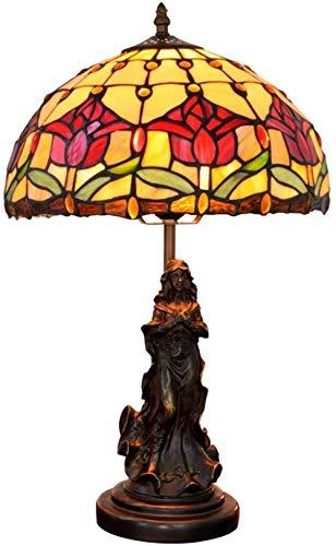 Tiffany Engel Tischlampe, 12-Zoll-Weinlese-roter Tulpe-Tischlampe, Engelharz-Basis