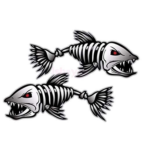 zhouweiwei 2 Stück Skeleton Fish Bones R & L Vinyl Aufkleber Aufkleber Kajak Fischerboot Auto (C022) Fahrzeugzubehör Teile