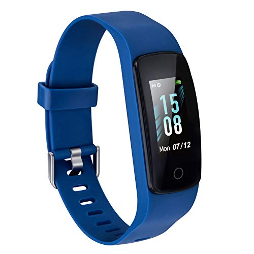 Etekcity Fitness Tracker, Activity Tracker with Step Counter,Heart Rate Monitor and Sleep Tracking for Men Kids, Blue, Color Touch Screen