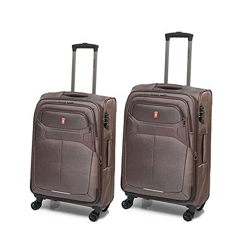 Juego de 2 maletas Veyron Expresso Gladiator de 65/78 - 100/115 litros (Marrón)