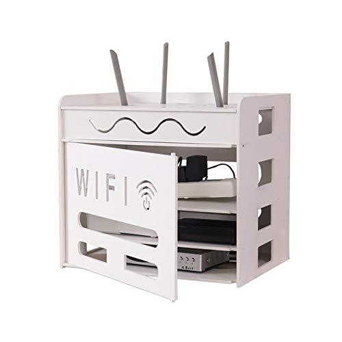 Los estantes flotantes WiFi Router Storage Shelf / Cable Cable Cable Organizador ordenado - Diseño tallado de la simplicidad nórdica 24x18x27cm para el cable de extensión de almacenamiento, administra