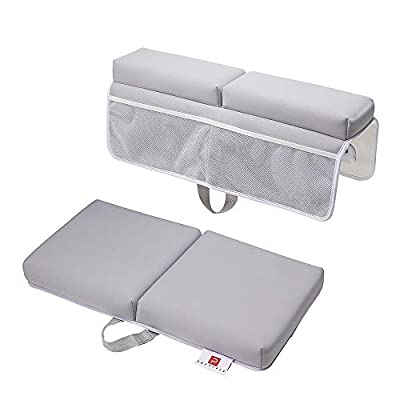 [PRESIPIS]Bath Kneeler and Elbow Rest Baby Accessories?2.1inch Comfortable Extra Cushion?Bathtub Accessories for Baby?Padded Knee Cushion Mat for Mom and Dad?Strong Suction Cups?Two-Side Mesh Pockets