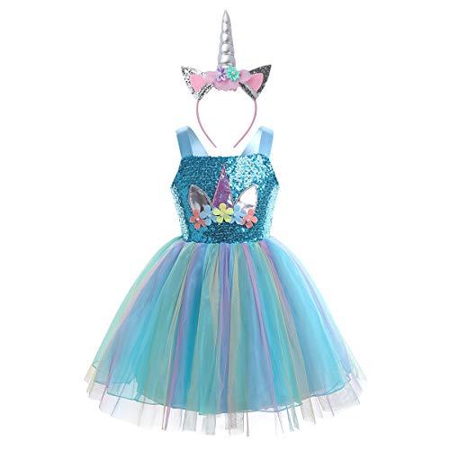 TiaoBug Enfant Fille Robe de Licorne Déguisement Princesse Robe Soirée Cocktail à Paillettes Robe Danse Pom-Pom Girl Costume Carnaval Fête Anniversaire Serre-tête Licorne Light Blue 8-9 Ans