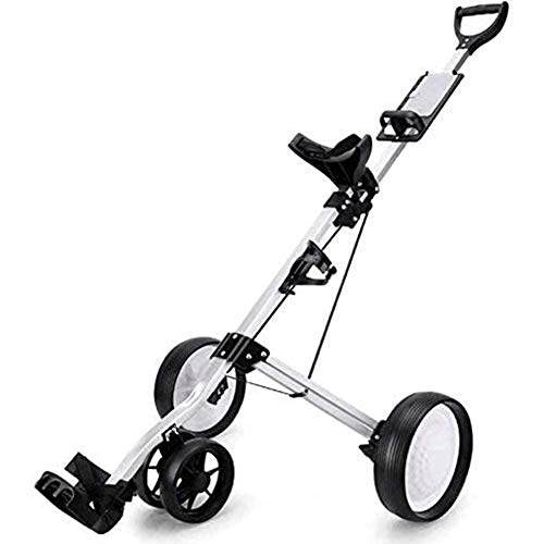 DGHJK Carrito de Golf para jóvenes Carrito de Golf Plegable Carrito de Golf de 3 Ruedas Carrito de Golf eléctrico Rueda de Empujar y Tirar Carrito de Golf Equipo de Fitness