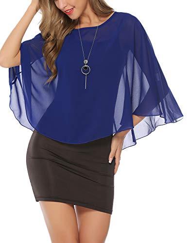 Abollria Ponchos y Capas Primavera y Verano Chal Elegante para Mujer Gasa Mantón Ligero, Azul Real