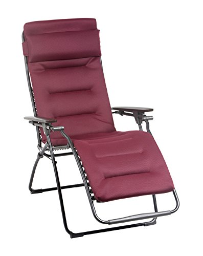 Lafuma Futura Air Comfort Zero Gravity Chair, Black Steel Frame, Bordeaux
