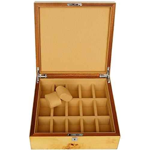 IG Massivholz-Uhr-Kasten-Organisator 15 Slot Watch Box Abschließbare Aufbewahrungsbehälter-Geburtstags-Geschenk-Partei-Geschenk Vitrine Juwelier (Gelb)