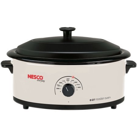 Nesco 6 Quart Capacity Ivory Roaster Oven - Porcelain Cookwell - Black Lid