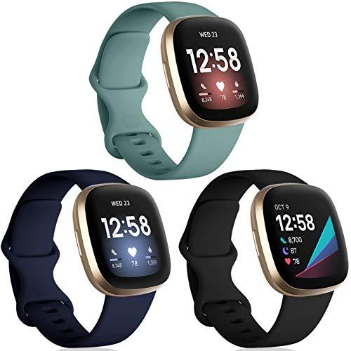 Oielai 3 Paquete Correa Compatibles para Fitbit Versa 3/Fitbit Sense Correas, Silicona Sport Classic Soft Reemplazo Correa Compatible con Fitbit Versa 3/Fitbit Sense, Pequeña Negro/Azul/Verde Pino