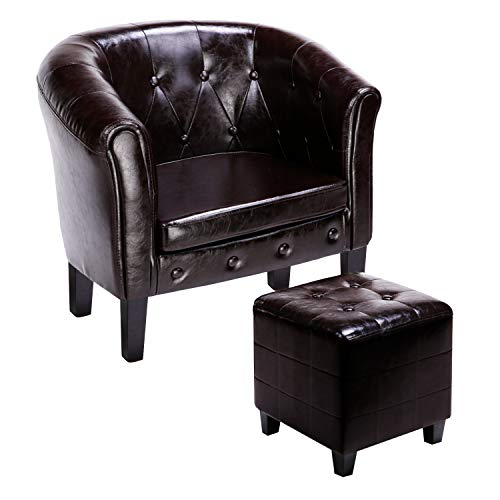 CCLIFE Chesterfield Sessel Loungesessel mit Hocker Clubsessel Cocktailsessel Ledersessel Braun/Weiss/Gold, Variante:002 Braun mit Hocker