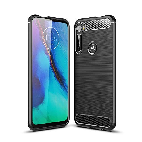 CoverKingz Handyhülle für Motorola One Fusion+ - Silikon Handy Hülle One Fusion+ (Plus) - Soft Hülle Carbon Farben schwarz