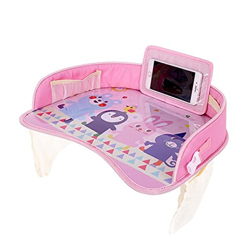 Baby Travel Car Tray Plates, Portable Waterproof Dining Table for Children Baby Playpen, Car Seat Kids Cartoon Toy Storage Fence with Mobile Phone Holder Organiser Bags, Travel Accessories