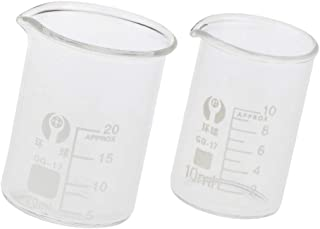 Messbecher Set niedrige Form Becher Messbecher 6/St/ück Becher 4/PCS 50/150/250/500/ml transparent jooks Labs Kunststoff graduiert