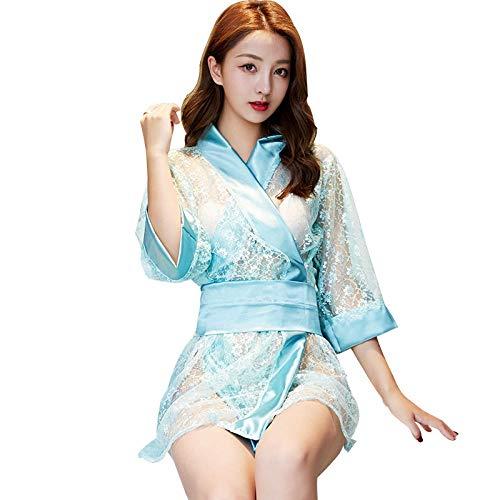 Dames Erotische Kleding Erotische Bodykousen Sexy lingerie transparante kant kimono low-cut mesh jurk retro sexy pyjama pak vrouwen