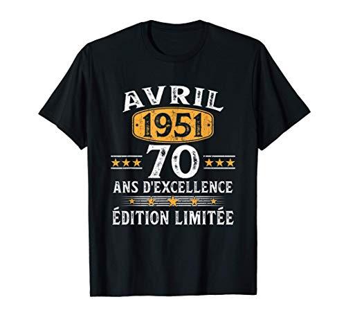 Homme 70 Ans Anniversaire Homme Millésime Fabriqué en Avril 1951 T-Shirt