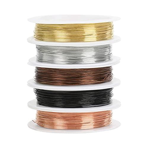 Kurtzy Colorido Alambre Manualidades de Aluminio para Hacer Joyas (Pack de 5) Rollos de 5 m y 0,4 mm de Grosor 5 Colores - Alambre de Aluminio Flexible para Manualidades Florales, Abalorios y Modelos
