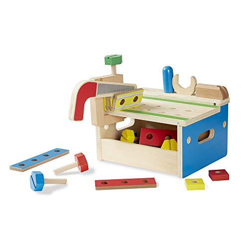 Melissa & Doug Hammer and Saw Tool Bench - Wooden Building Set (32 pcs)
