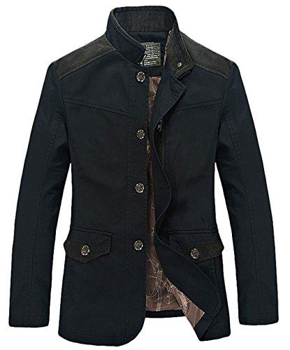 chouyatou Men's Mandarin Collar Front Button Slim Fitted Lightweight Cotton Suit Jacket (Black, X-Large)